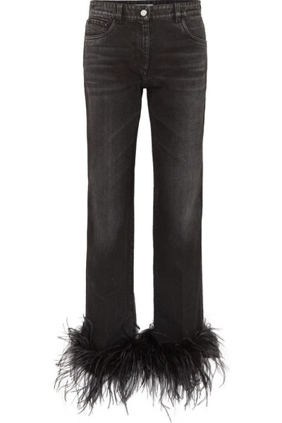 Cropped Feather-Trimmed Straight-Leg Jeans