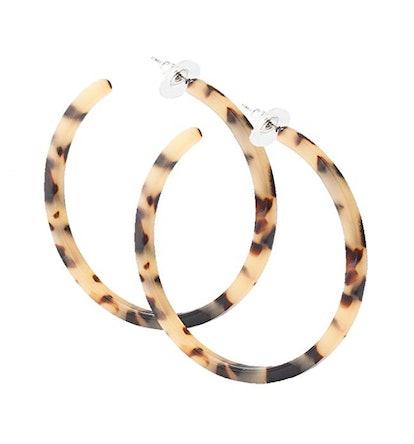 PHALIN Tortoiseshell Acrylic Hoop Earrings