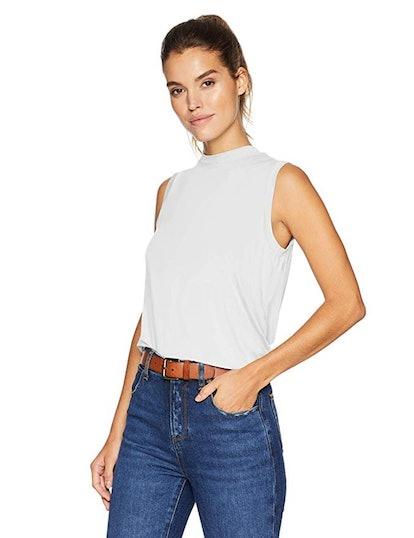 Daily Ritual Women's Jersey Sleeveless Boxy Mock-Neck Shirt