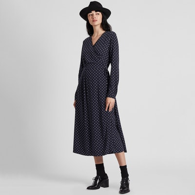 Rayon Crepe Printed Wrap Long-Sleeve Dress