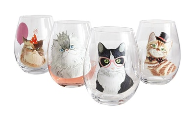 Party Cats Painted Stemless Wine Glass Box Set