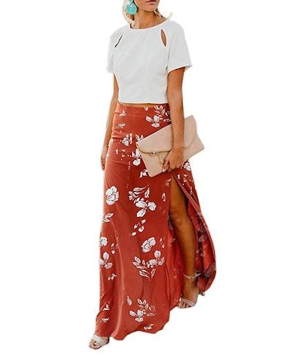 Imily Bela Womens High Waisted Chiffon Flowy Vintage Maxi Skirt