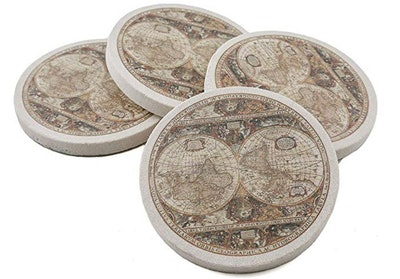 Thirstystone Old World Passages Painted Sandstone Coaster Set (4-Pack)