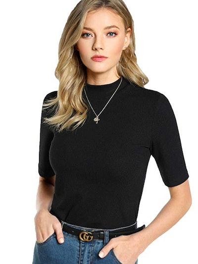SheIn Women's Mock Neck Half Sleeve Slim Fit Shirt