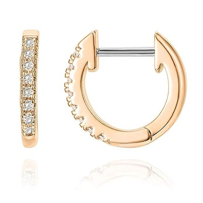 PAVOI 14K Gold Plated Cubic Zirconia Huggie Earrings