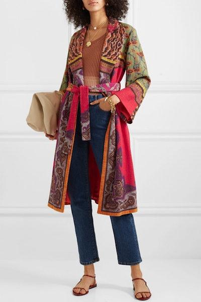 Belted Cotton-Blend Jacquard Coat