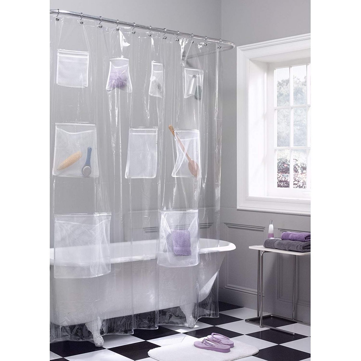 Maytex Quick Dry Mesh Pockets Shower Curtain