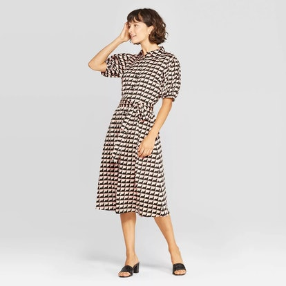 Who What Wear™ Women's Puff Short Sleeve Collared Front Button-Down Midi Wrap Dress