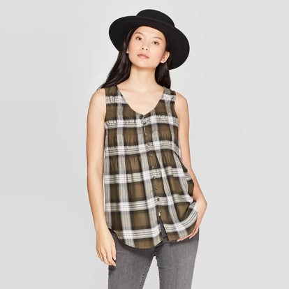 Knox Rose™ Green Women's Plaid Scoop Neck Front Button-Down Tank Top