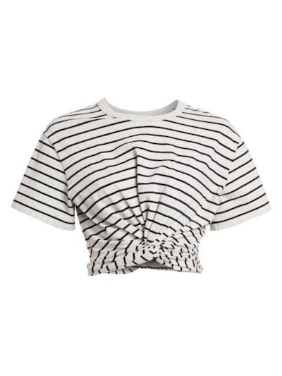 Striped Twist Crop T-Shirt