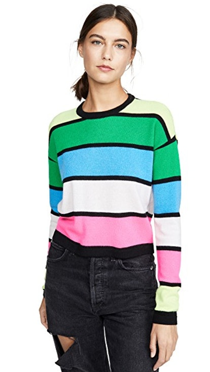 Striped Cashmere Crew Sweater