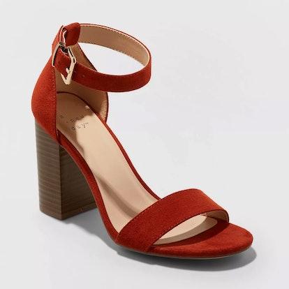A New Day™ Rust Women's Julia Microsuede High Block Heel Sandal Pumps