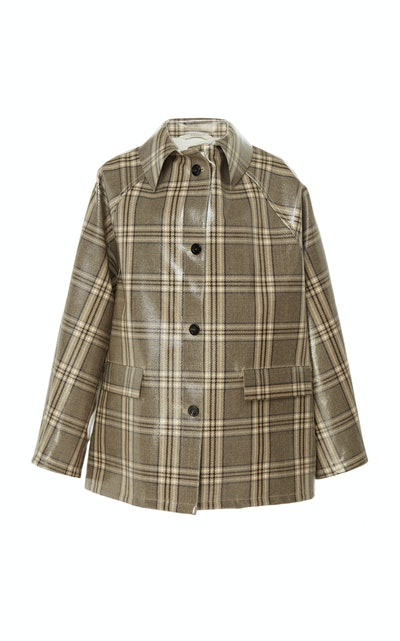 Checked Lacquered Wool-Blend Jacket