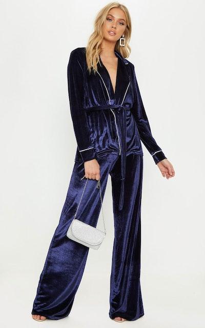 Navy Velvet High Waisted Wide Leg Suit