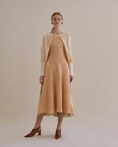 Milena Dress Silk Hammered Peach + Ivory + Beige Mix