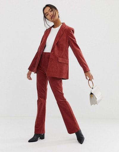 ASOS DESIGN velvet slim flare suit trousers
