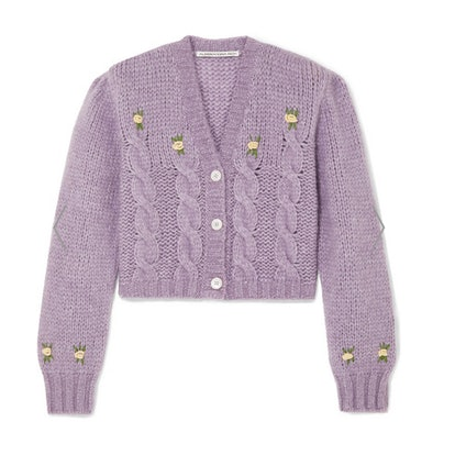 Cropped Embroidered Cable-Knit Alpaca-Blend Cardigan