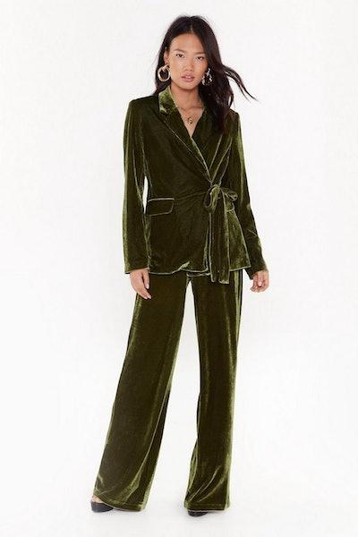 Power Dressing Belted Velvet