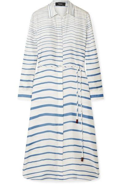 Striped Silk-Satin Twill Midi Dress