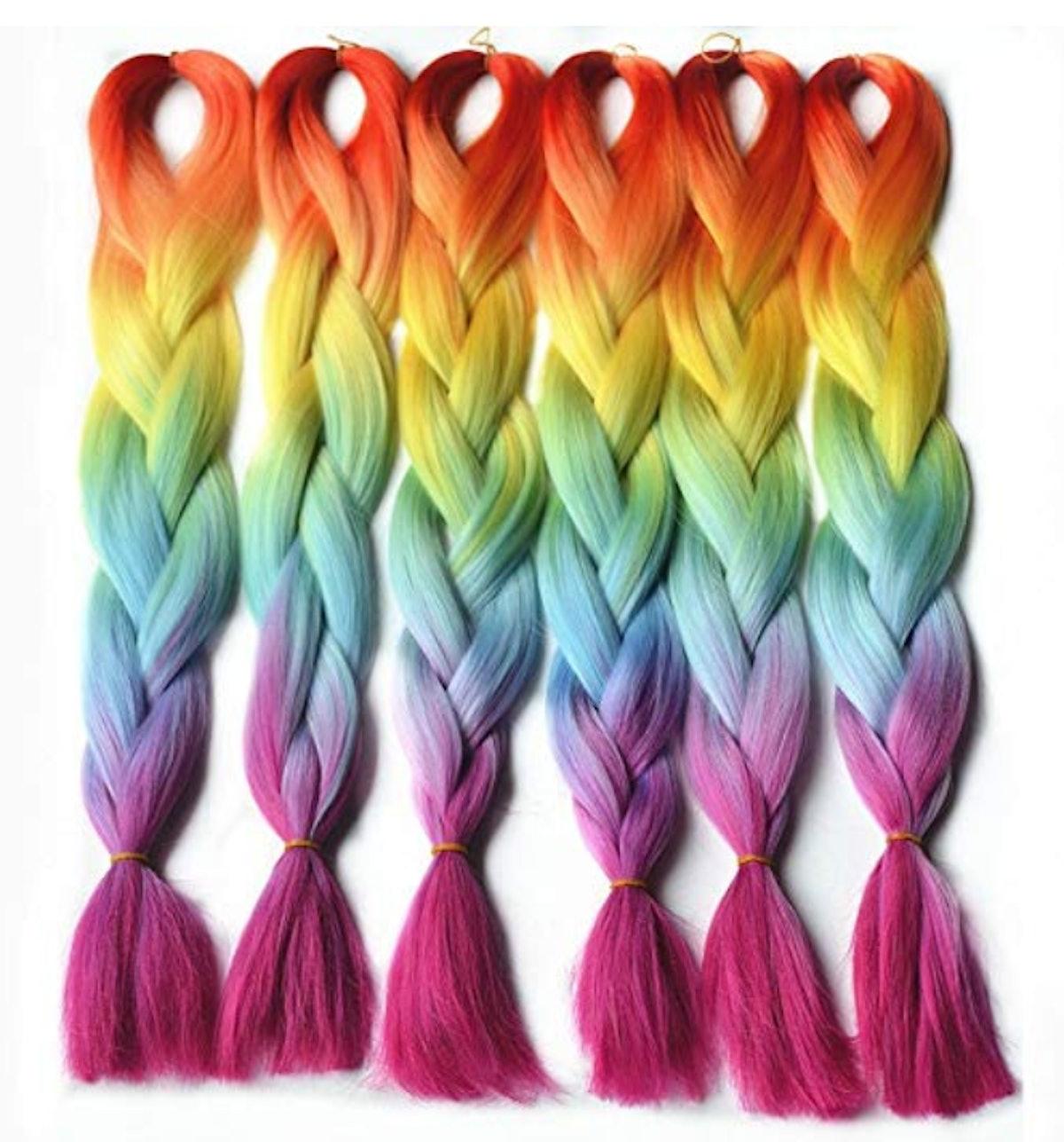 Rainbow Ombre Braiding Hair
