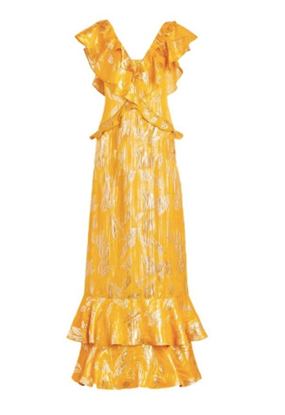 Geovana Metallic Jacquard Gown in Marigold