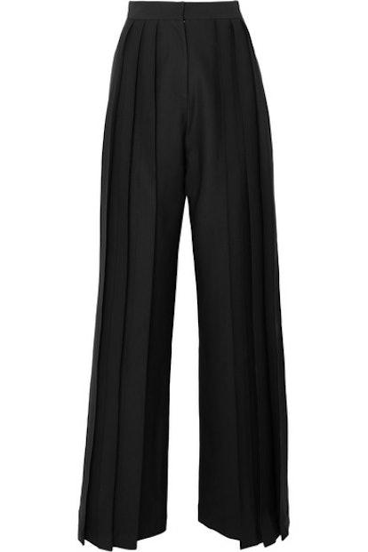 Triple Pleat Twill Wide-Leg Pants