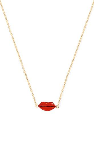 Enamel Lip Necklace