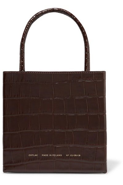 Square Glossed Croc-Effect Leather Tote