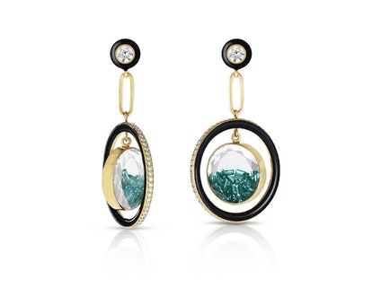 Earrings with Diamonds and Emeralds in White Sapphire Kaleidoscope Shakers