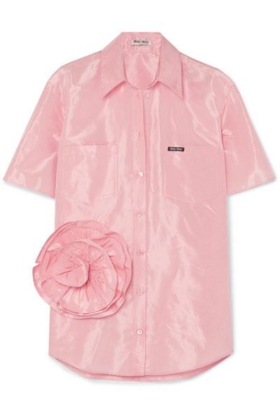 Oversized Appliquéd Silk-Taffeta Shirt