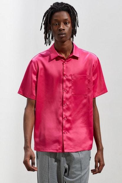 Solid Satin Short Sleeve Button-Down Shirt