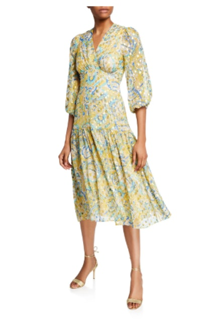 Aceline Metallic Midi Dress