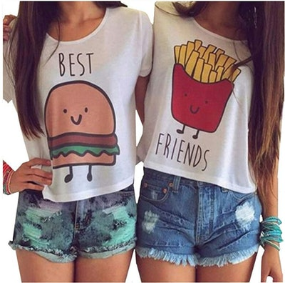 Cute Cartoon Best Friend Printed Crop Tops