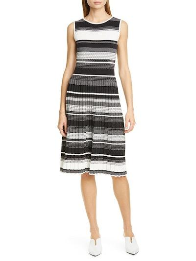 Stripe Knit Pleated Dress