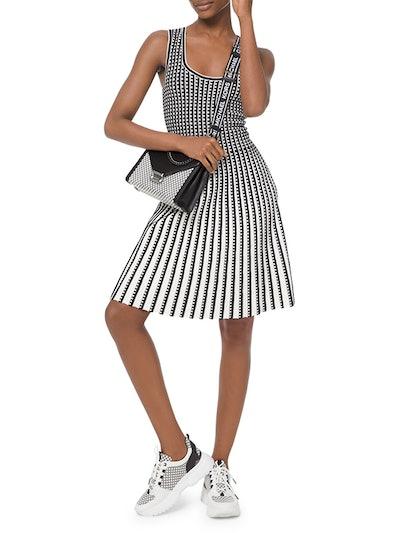 Geo Grid Pleated Sleeveless Dress