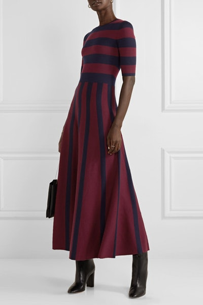 Capote Striped Merino Wool and Cashmere-Blend Maxi Dress