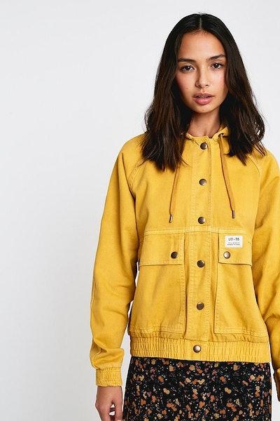 BDG Rowan Hooded Cotton Bomber Jacket