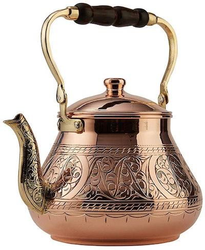 DEMMEX Heavy Gauge Turkish Copper Tea Kettle