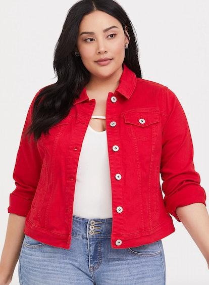 Red Denim Trucker Jacket