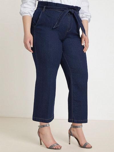 Belted Paperbag Waist Crop Wide Leg Jean