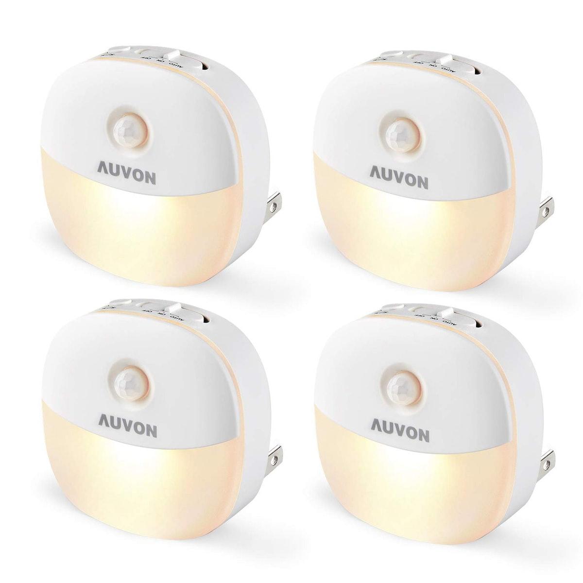 AUVON Plug-In LED Motion Sensor Night Light (4 Pack)