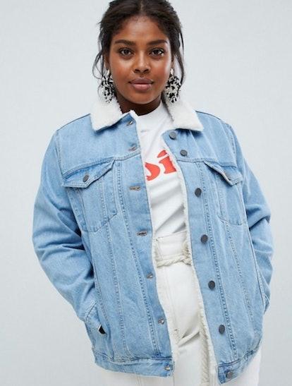 ASOS DESIGN Curve denim jacket with fleece collar in midwash blue