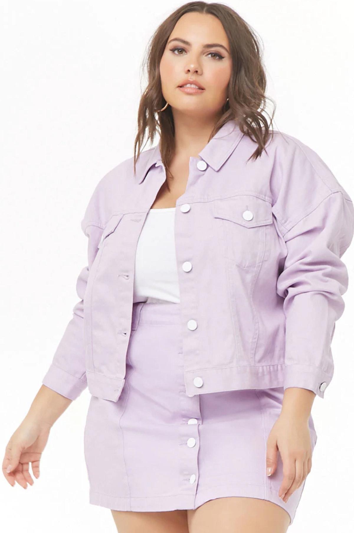 Plus Size Button-Front Denim Jacket
