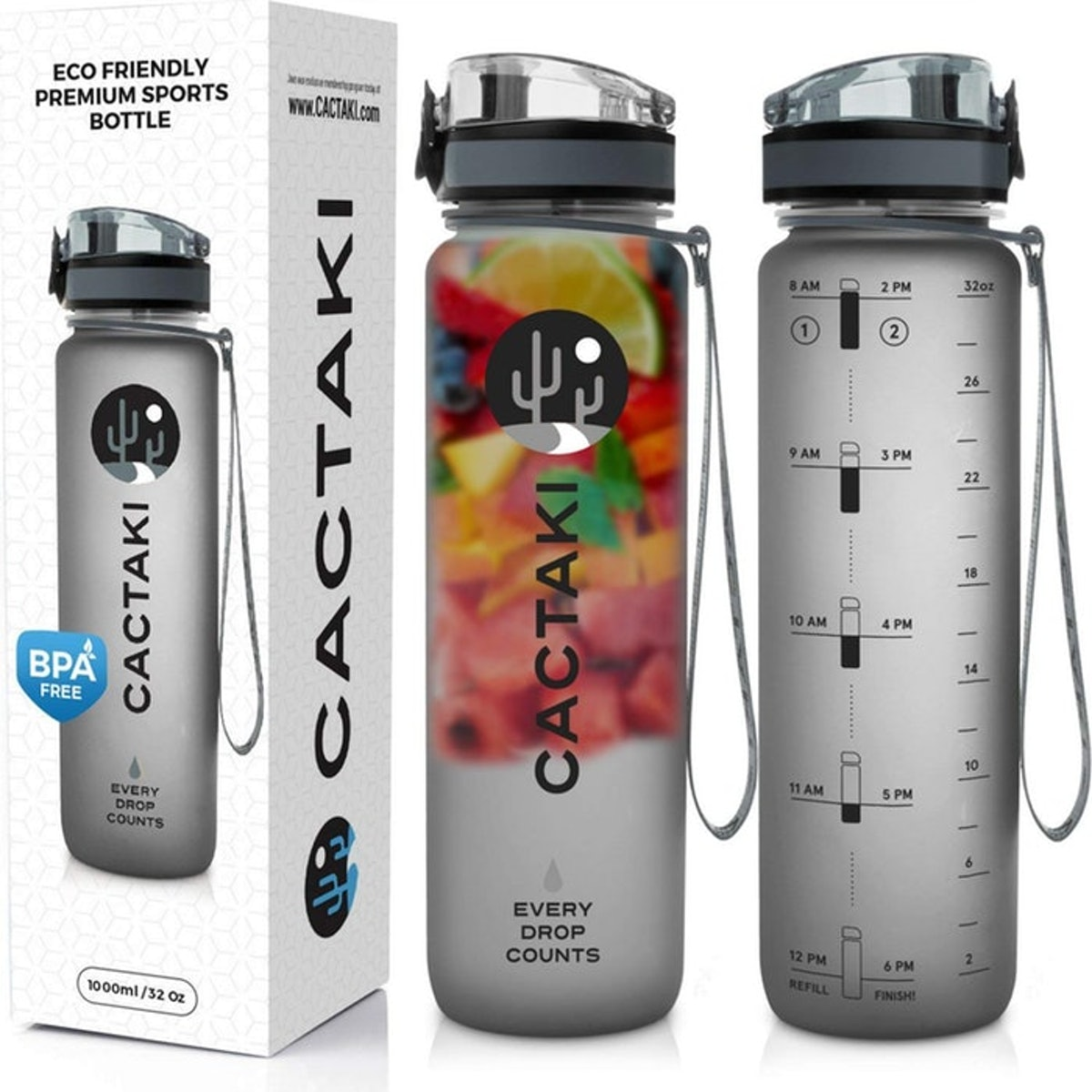 Cactaki Water Bottle with Time Marker