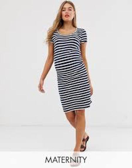 Mamalicious Striped Organic Cotton Jersey Mini Dress