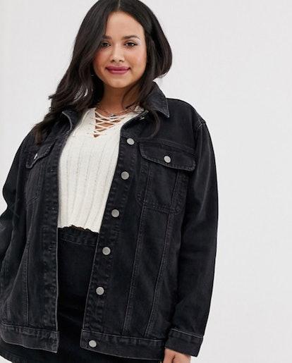 ASOS DESIGN Curve Denim Girlfriend Jacket in Washed Black