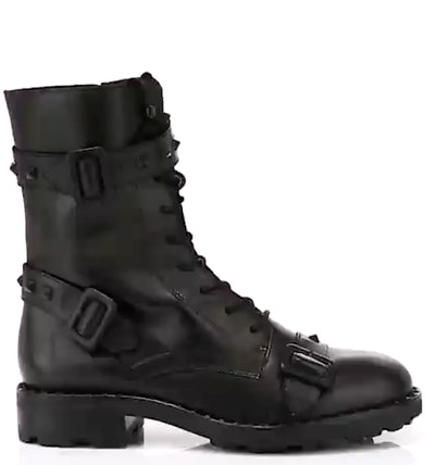 Witch Rockstud-Trim Leather Combat Boots