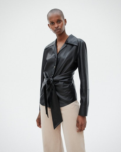Poppy Tie-Front Vegan Leather Shirt