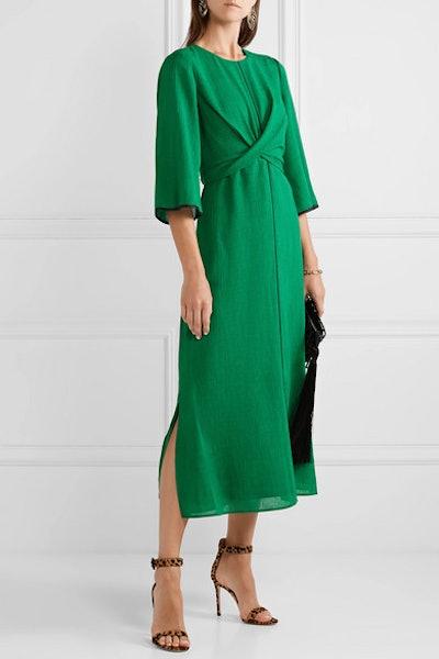 Twist-Front Grosgrain-Trimmed Midi Dress