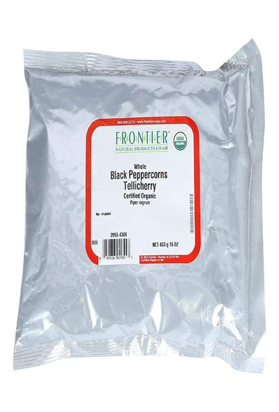 Frontier Organic Whole Black Tellicherry Bulk Peppercorns (1 Pound)